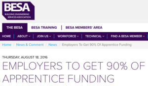 The government has said it will introduce a levy to help fund 90% of apprentice training